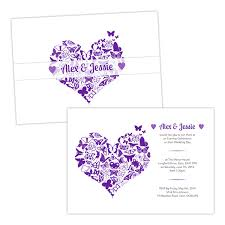 butterfly wedding invitations butterfly heart purple white wedding invitations pack of 10