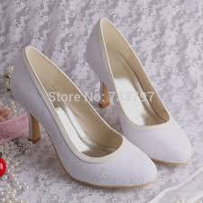 wedding shoes mid heel wedopus mw064 mid heel white lace bridal shoes women fabric pumps