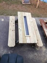 How To Build A Wooden Picnic Table by Web 0022 How Make Picnic Table Drink Trough 500x245 Wooden Picnic