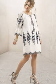 memdalet women u0027s 3 4 sleeve embroidery white mini shift party