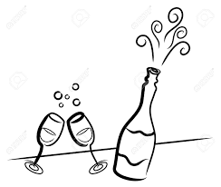 margarita glass cartoon simple drawing of a bottle of champagne and two glasses royalty