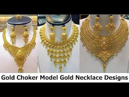 golden jewellery necklace images Latest choker model gold necklace jewellery designs jpg
