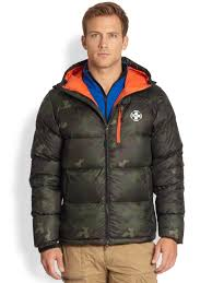 rlx ralph lauren camouflage down jacket in green for men lyst
