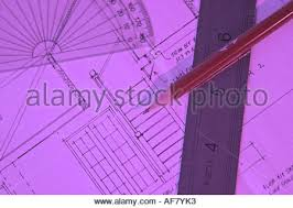stock photograph of a blueprint for a house with drawing and stock