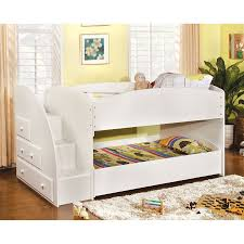 shop furniture of america merritt white twin over twin bunk bed at