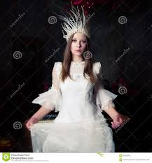 snow white witch costume mysterious woman dressed as a white witch or a snow queen stock