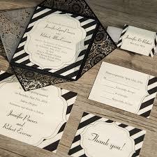black and white striped wedding invitations black laser cut classic stripes wedding invitations ewws093 as low