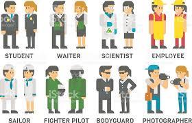 berufe mit design flache design personen und berufe set vektor illustration