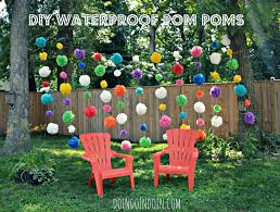 Pleated Table Covers Waterproof Pom Poms Using Dollar Store Plastic Table Cloths