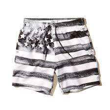 Black And White American Flag American Flag Beach Prep Pull On Swim Shorts Black And White For