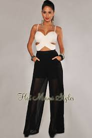 black and white jumpsuit white cut out strapless padded jumpsuit