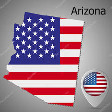 Az State Flag Arizona State Map With Us Flag Inside And Map Pointer With