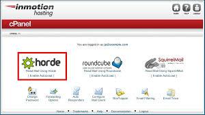 logging into horde inmotion hosting