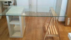 bureau ikea verre et alu bureau dessus verre task bureau 1 tiroir alu blanc plateau verre