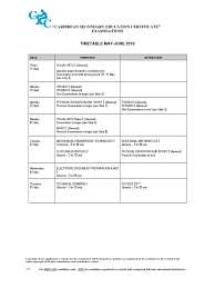 timetable csec may june 2016k test assessment engineering