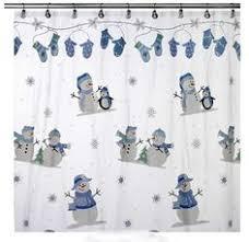 Shower Curtain Vinyl - snowman penguin christmas vinyl shower curtain u0026 hook set snow oh