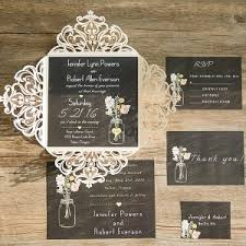 rustic invitations ivory laser cut chalkboard jar rustic wedding invitations