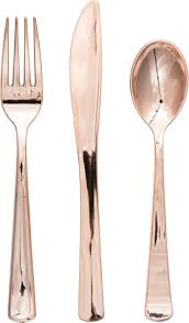 plastic cutlery creative converting rosegold metallic plastic cutlery reviews