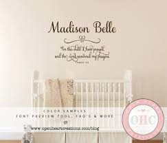 Baby Nursery Wall Decal by For This Child I Prayed Wall Decal With Baby Name 1 Samuel 1