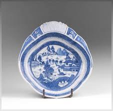 canton porcelain mid 19th c blue and white canton porcelain shrimp dish pia s