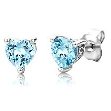byjoy jewellery byjoy 925 heart shaped sky blue topaz stud earrings jewellery