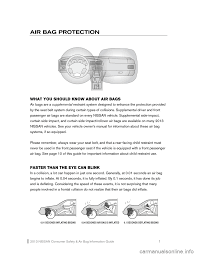 nissan rogue 2013 2 g consumer safety air bag information guide