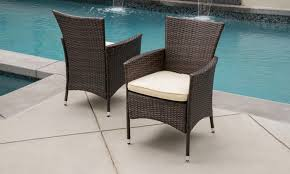Noble House Outdoor Furniture by Clementine Outdoor Wicker Dining Chairs Set Of 2 Groupon
