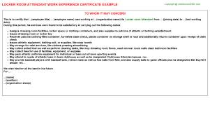 hotel housekeeping room attendant work experience letters