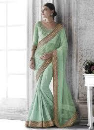 pista green embroidery mirror work georgette net half wedding