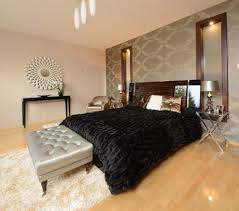 sand wallpaper bedroom contemporary with purple decorative pillows