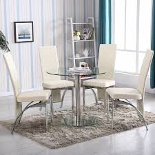 Glass Dining Room Furniture Sets Amazon Com 4family 5 Pc Round Glass Dining Table Set With 4