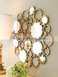 Gold Wall Decor by Large Mirrored Rings Circles Modern Gold Wall