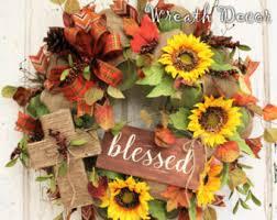Sunflower Mesh Wreath Burlap Cross Wreath Etsy