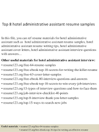 Resume Examples Executive Assistant by Top 8 Hotel Administrative Assistant Resume Samples 1 638 Jpg Cb U003d1432909875