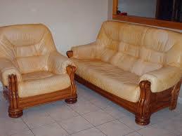 canape cuir et bois meubles de salon fauteuil bois et cuir caramel