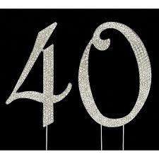 40 cake topper silver number 40 rhinestone cake topper