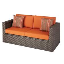 Outdoor Wicker Settee Cushions by Hampton Bay Moreno Valley Patio Loveseat With Sunbrella Canvas