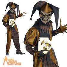 Scary Clown Halloween Costumes Men Gold Fancy Dress Men Ebay