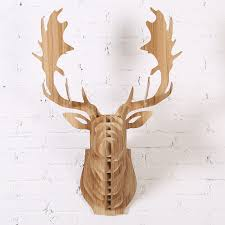 Home Decorations Canada 2016 New Fallow Reindeer Head Diy Wooden Wall Home Decor Canada
