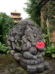 ganesha statue and pagoda hindu deities
