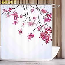 Cherry Blossom Curtains Decorative Shower Curtain Japanese Decor Cherry Blossom Sakura