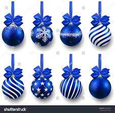 blue christmas balls on gift bows stock vector 164546471