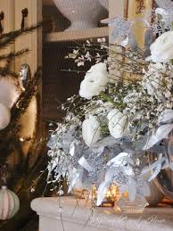 French Country Fireplace - christmas flowers silver and white my french country home