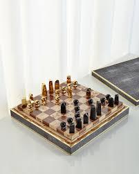aerin chocolate shagreen chess set neiman marcus