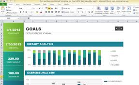 Excel Templates Free Diet And Exercise Journal Template For Excel 2013