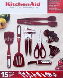 Red Kitchen Utensil Set - kitchenaid 15 piece kitchen utensil tools set