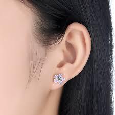back stud earrings 925 sterling silver cherry blossom push back stud earrings in