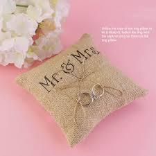 ring pillow tinksky mr mrs wedding ring pillow burlap jute bow