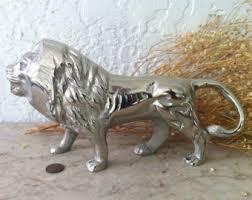 silver lion statue lion statues etsy