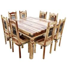 Large Square Dining Room Table Solid Wood Large Square Dining Table Chair Set For 8